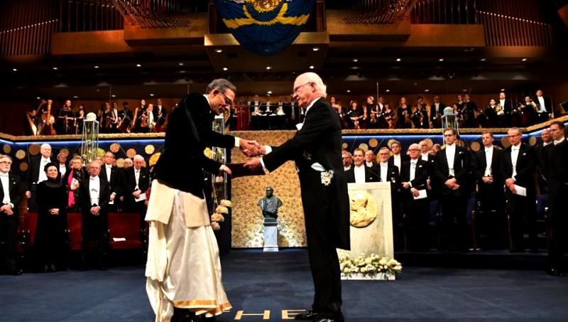 Abhijit Banerjee receiving the Nobel Prize