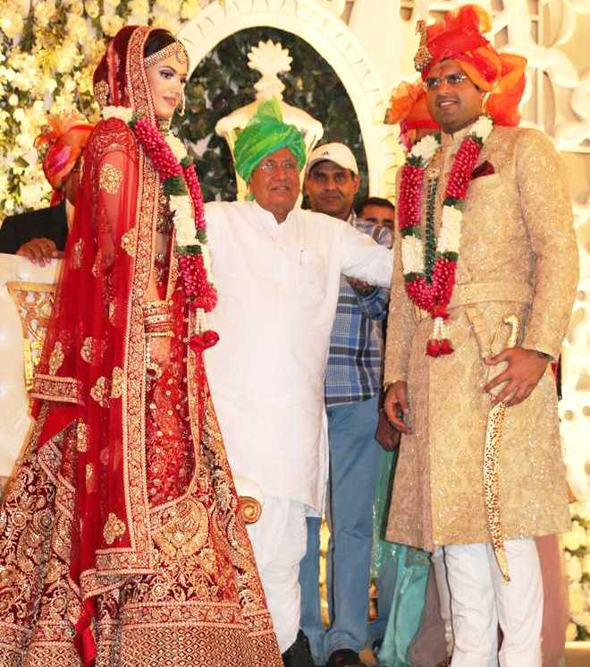 Dushyant Chautala with Meghna on his marriage day