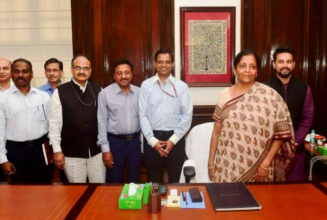 GC Murmu (extreme left) with Nirmala Sitharaman and her finance team