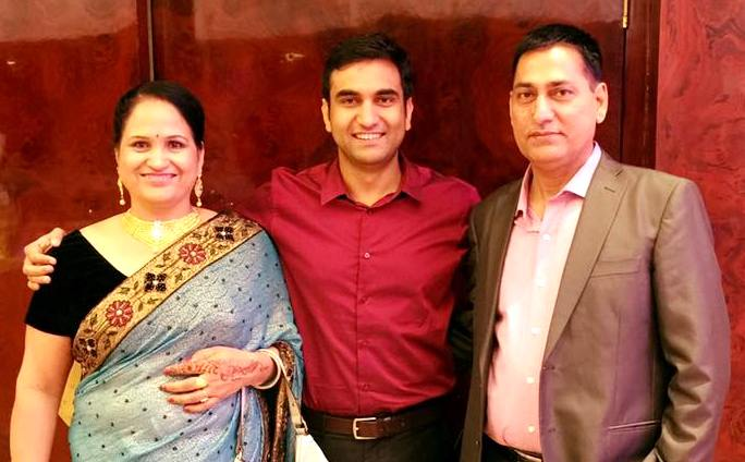 Lalit Shokeen with his parents