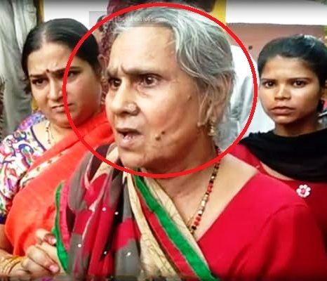 Mother of Kamlesh Tiwari in red circle