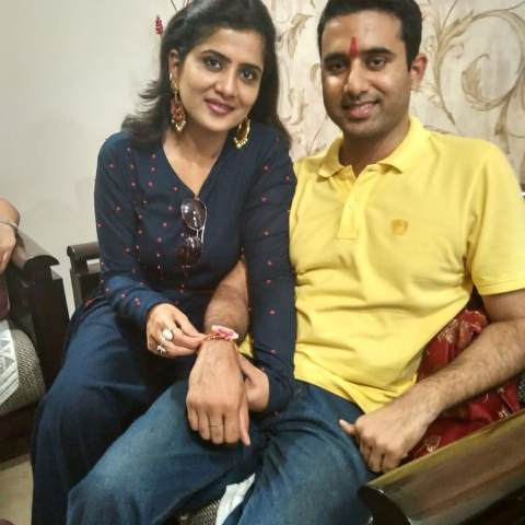 Neha Batham with her brother