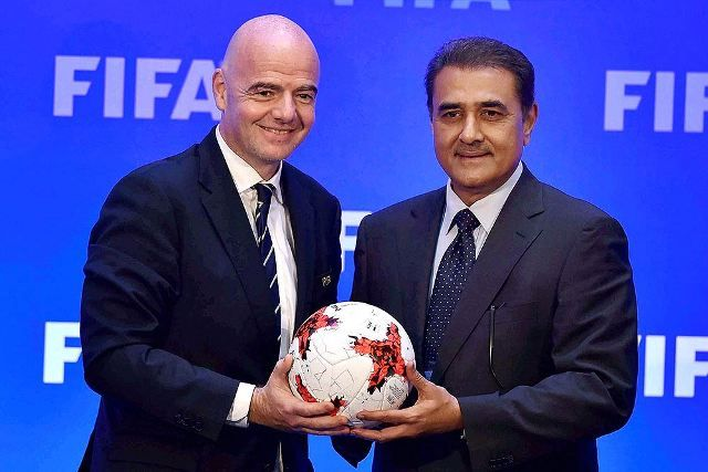 Praful Patel is pictured with the FIFA President, Gianni Infantino in a conference in Kolkata