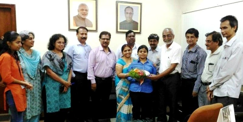 Pranjal being felicitated by Akashwani for clearing her UPSC exam