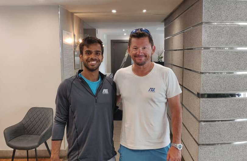 Sumit Nagal with his coach Sascha Nensel