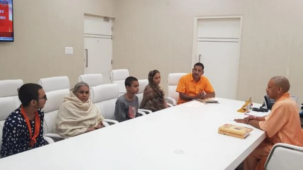 The family members of Kamlesh Tiwari meeting with the CM Yogi Adityanath