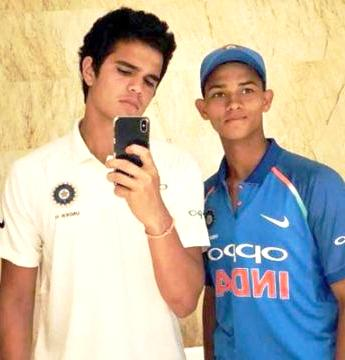Yashasvi Jaiswal (right) with Arjun Tendulkar