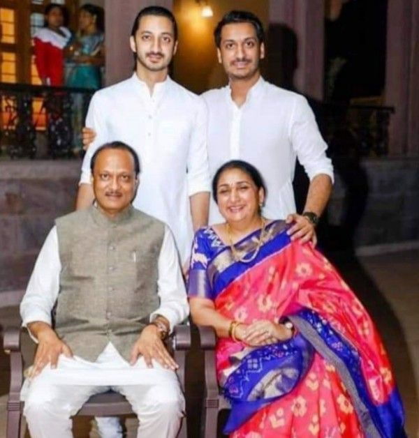 Ajit Pawar With His Wife and Sons