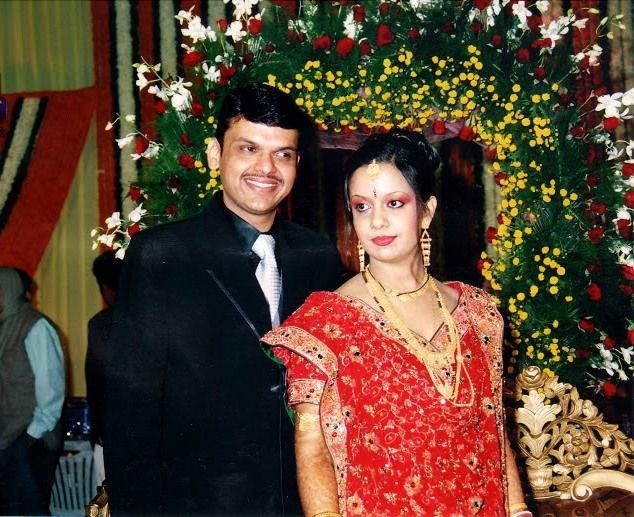 Devendra Fadnavis with his wife Amruta Fadnavis