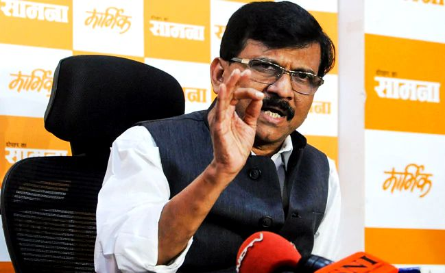 Sanjay Raut during a Saamna press conference
