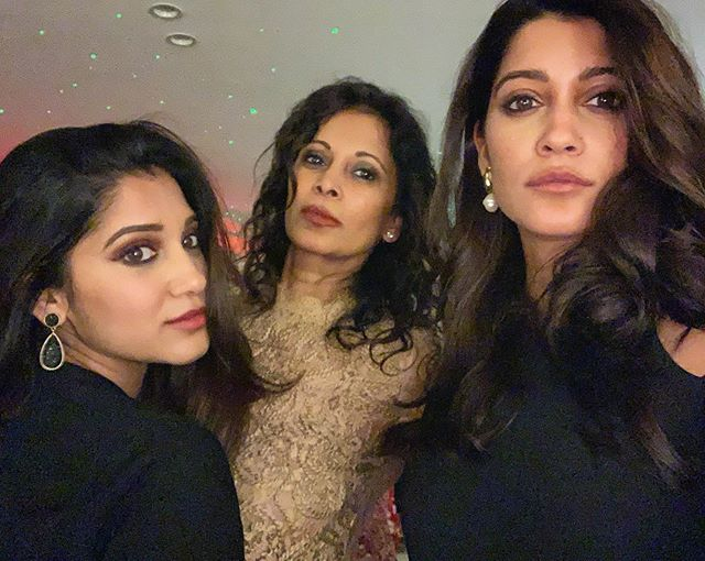 Anuja Joshi with her mother and sister
