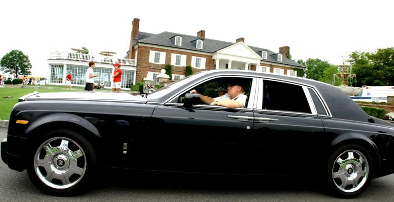 Donald Trump in his 2015 Rolls-Royce Phantom