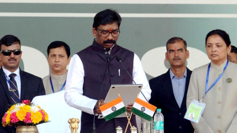 Hemant Soren taking oath as the Chief Minister of Jharkhand