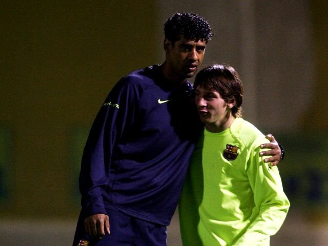 Lionel Messi with Frank Rijkaard