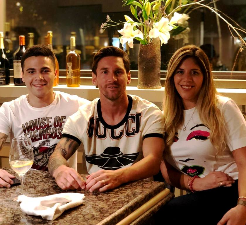 Lionel Messi with his sister Maria Sol Messi