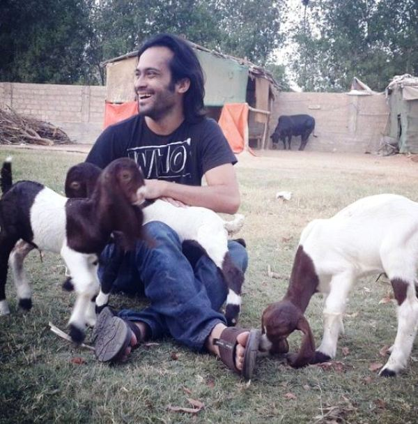 Waqar Zaka with Goats