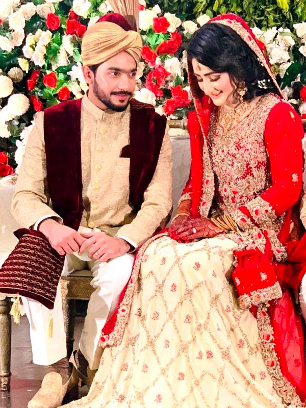 Bismah Maroof with her husband Abrar Ahmed