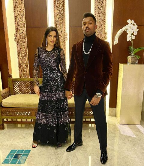 Hardik Pandya with his fiancee, Natasa Stankovic