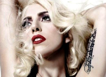 Lady Gaga's German quote tattoo on her left inner arm