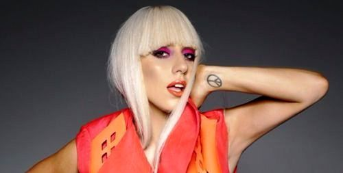 Lady Gaga's peace sign tattoo on her left wrist