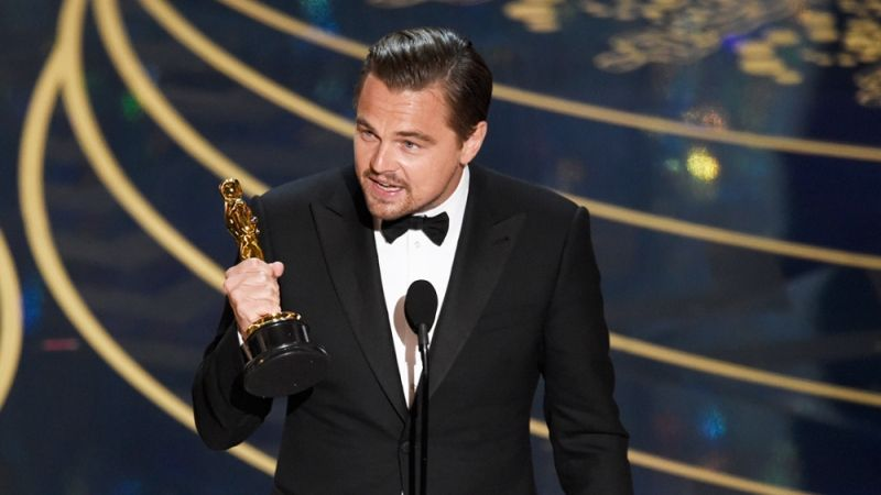 Leonardo DiCaprio With the Best Actor Academy Award for The Revenant
