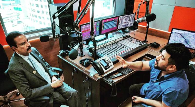 Raghu Subhash in a Radio Station Office