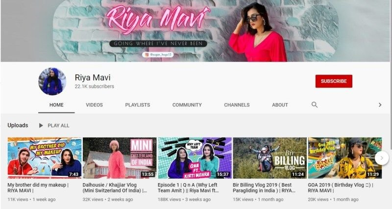 Riya Mavi's Youtube Channel