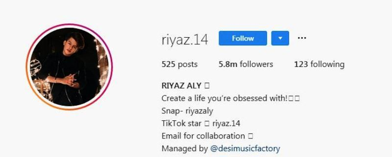 Riyaz Aly's Instagram Account