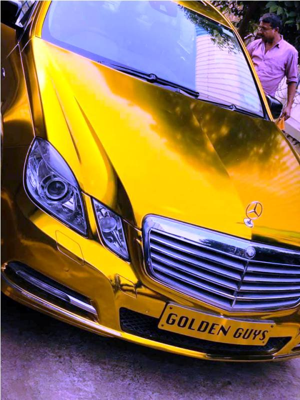 Sunny Waghchoure's Gold Mercedes Car