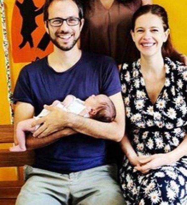 Guy Hershberg with his newborn daughter and Girlfriend, Kalki