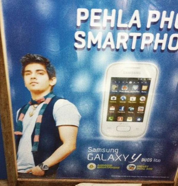 Harsh Nagar in a Print Advertisement of Samsung Mobile