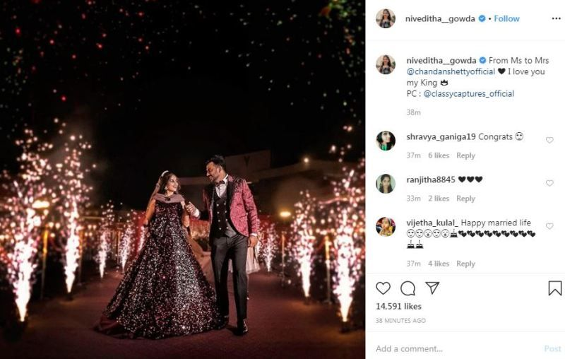 Niveditha Gowda Instagram post about her marriage with Chandan Shetty