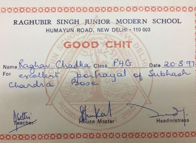 Raghav Chadha's School Certificate of Participation in the Annual Function