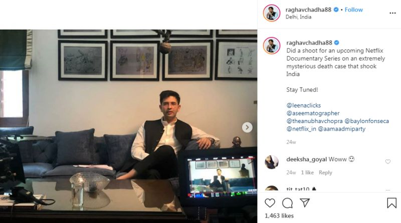 Raghav Chadha during a shoot for the Netflix Documentary Rajma Chawal
