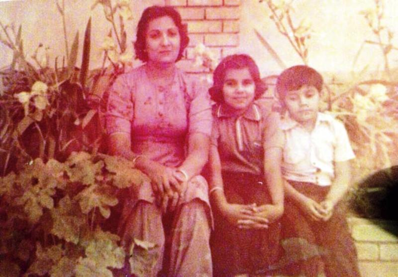 An Old Picture of Dr. Anjali Hooda Sangwan With Her Mother and Brother