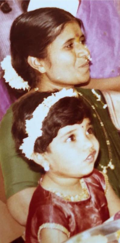 Childhood Picture of Mukta Barve with her Mother
