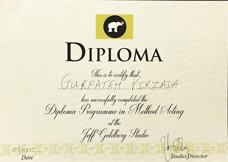 Gurfateh Singh Pirzada's Diploma Certificate
