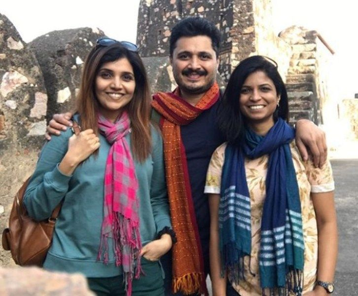 Mukta Barve with her Brother and Sister-in-Law