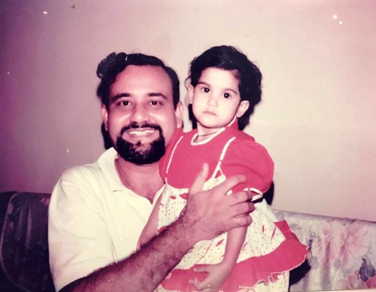 A Childhood Picture of Aaditi Pohankar With Her Father