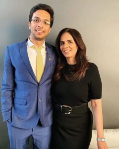 Anita Dongre with her son