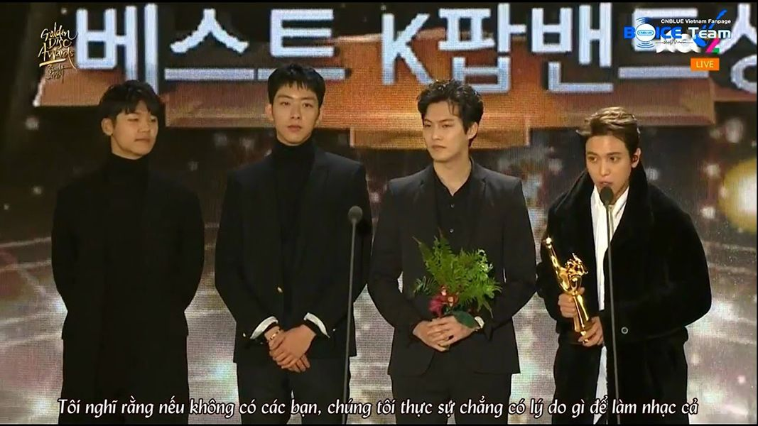 CNBLUE Giving Acceptance Speech at Golden Disc Awards