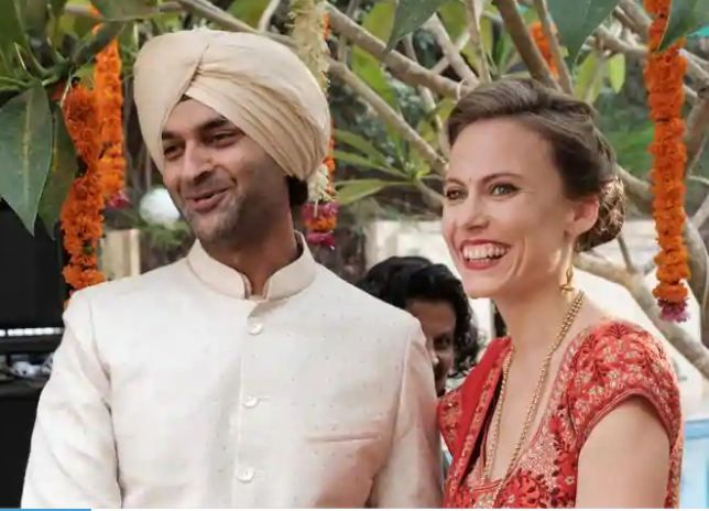 Lucy Payton with her husband Purab Kohli