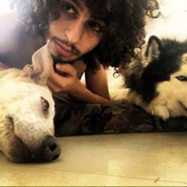 Shadi Mar'i With His Pet Dogs
