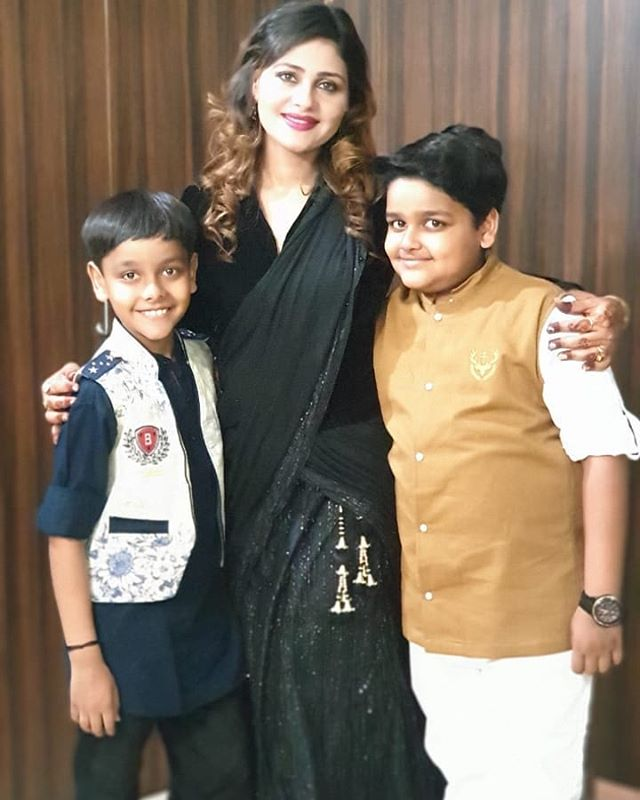Anamika Jain Amber with her son