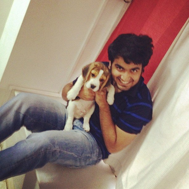 Ayush Mehra with his pet dog