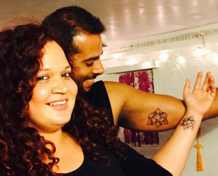 Karisma Chavan and Her Husband Posing with Their Tattoos