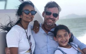 Suchitra Pillai with her husband and daughter