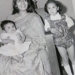 Suchitra Pillai with her mother and sister
