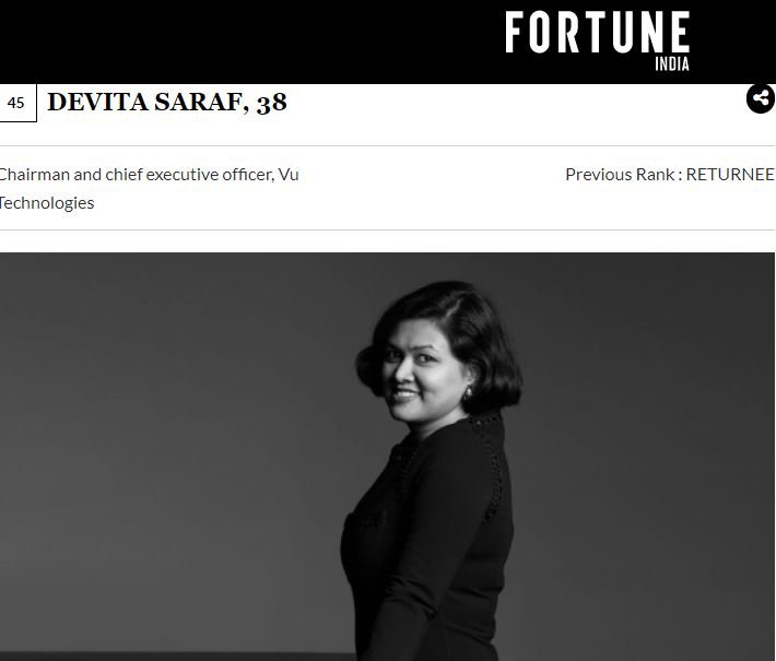 Devita Saraf listed on Fortune India