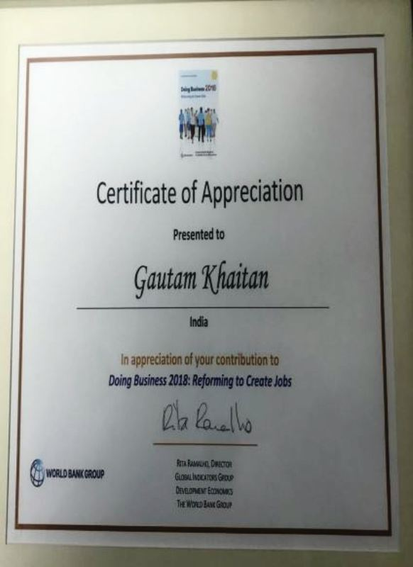 Gautam Khaitan's Doing Business Certificate